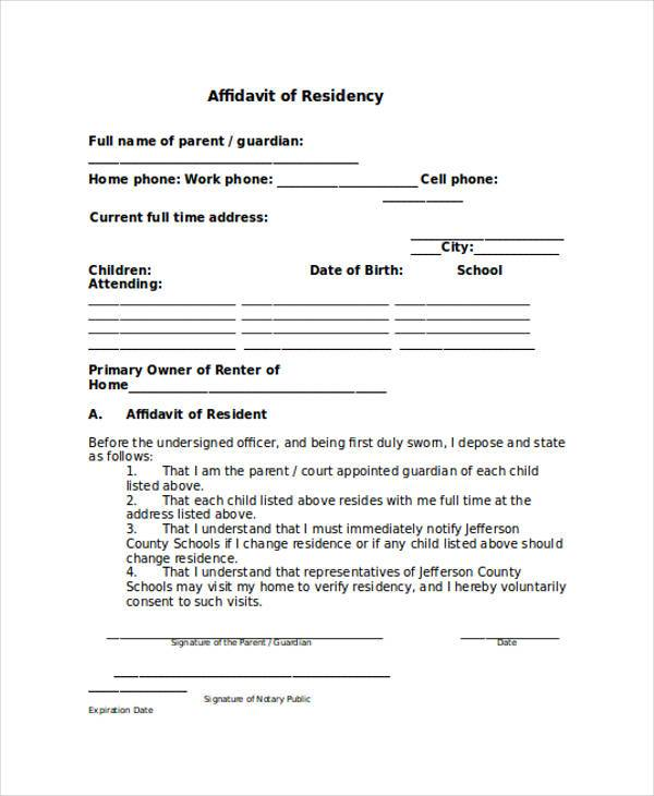 affidavit of residency