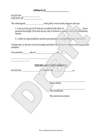 affidavit template draft