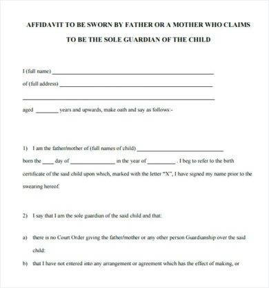 affidavit template example1