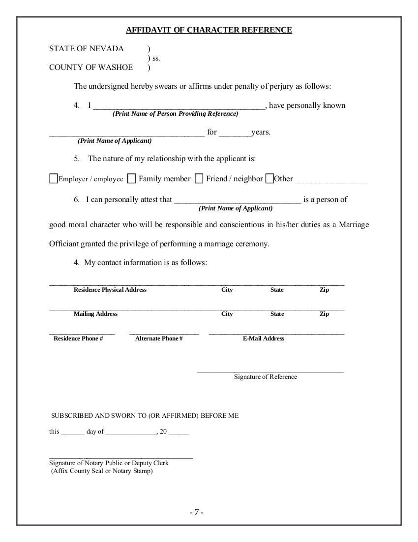 affidavit of character reference