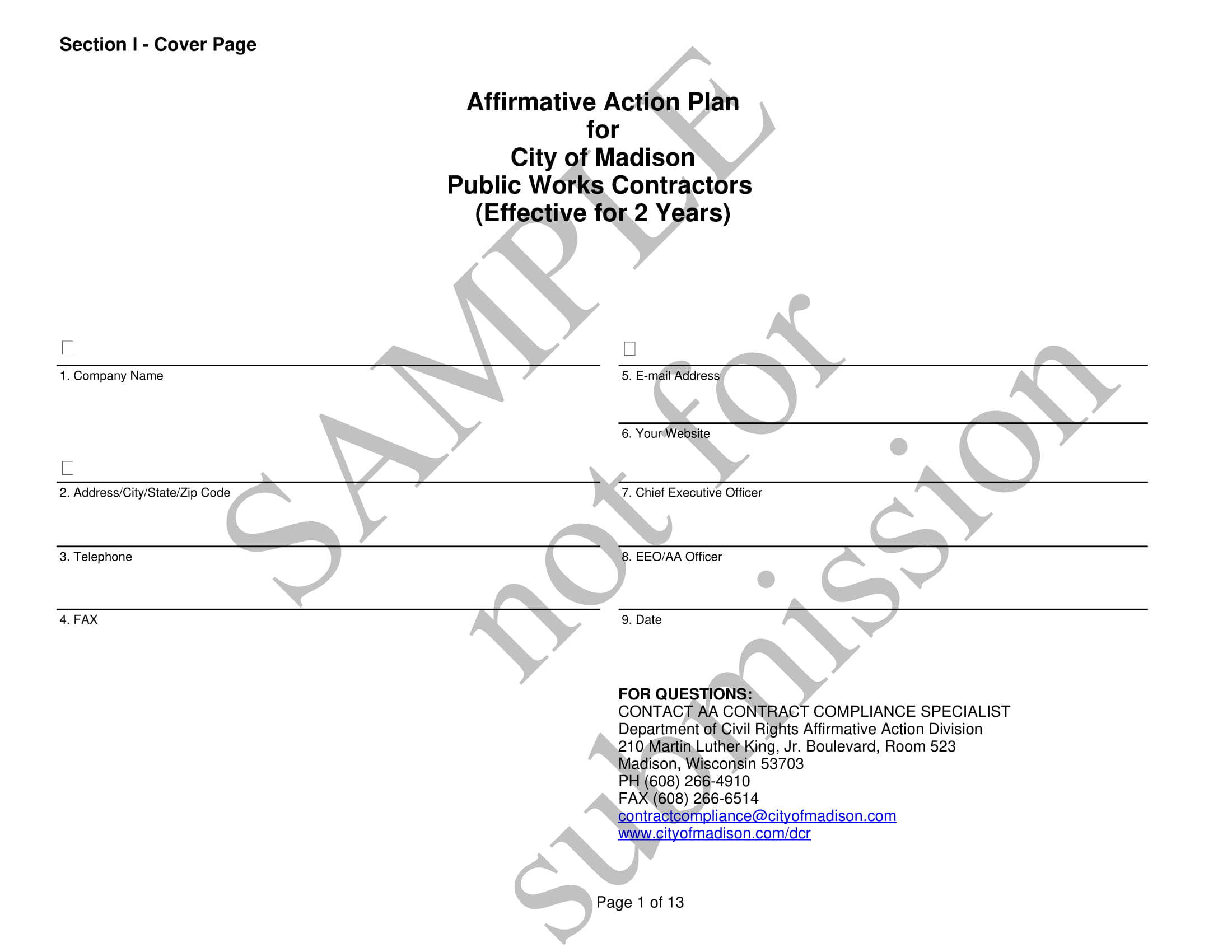 affirmative action plan for public works contractors example 01