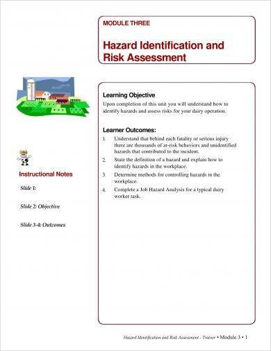 analysis in workplace hazard identification and risk assessment example