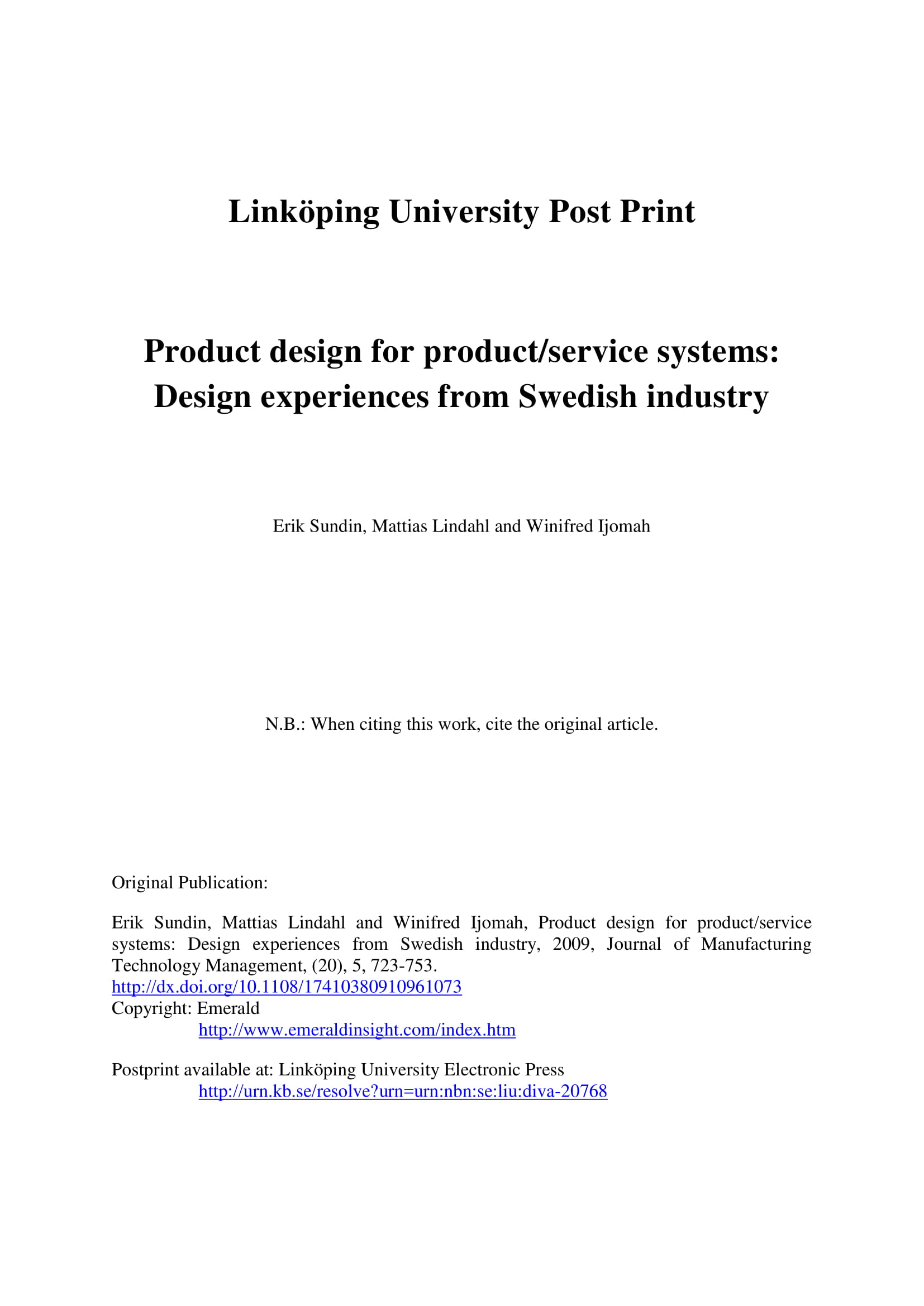 analysis of product design for product and service systems example 01