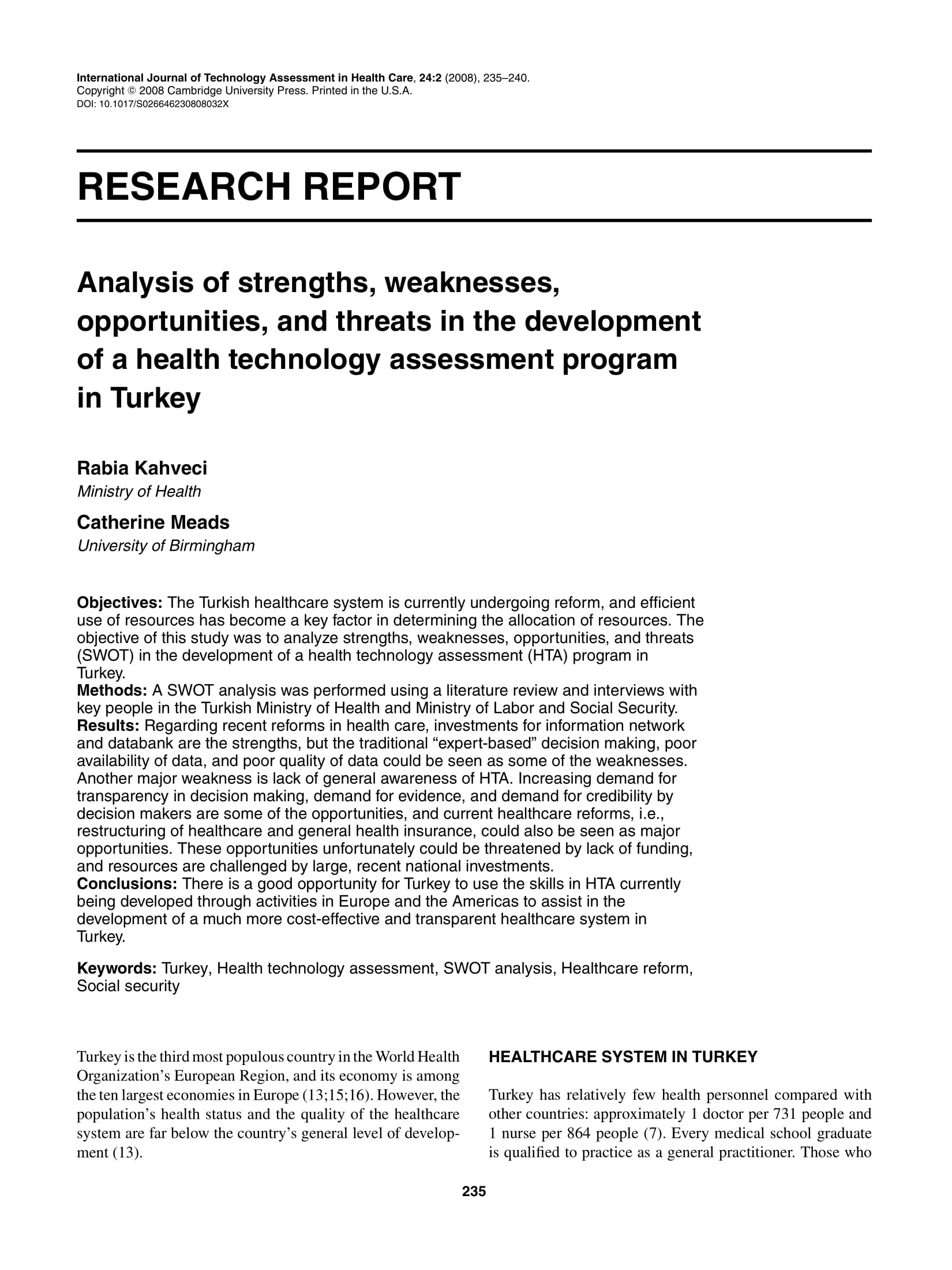 analysis of strengths weaknesses opportunities and threats in the development of a health technology assessment program example 1
