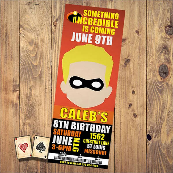 animated character birthday invitation ticket1