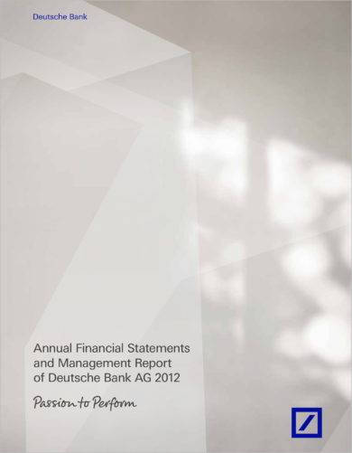 annual financial statements and management report of a bank business example