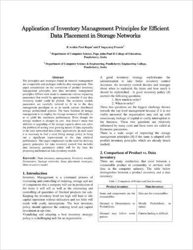 application of inventory management for data placement in storage networks
