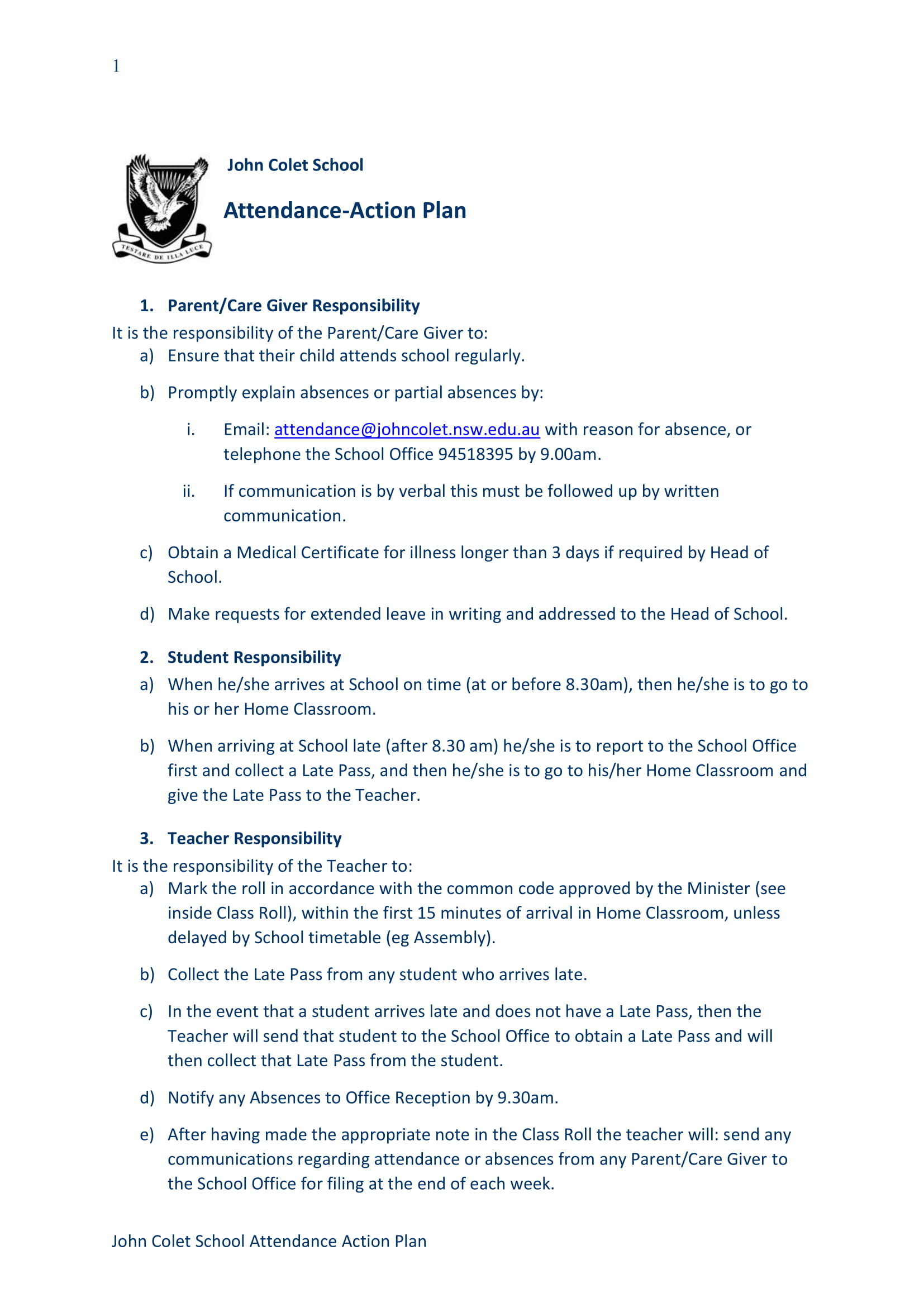 attendance action plan example