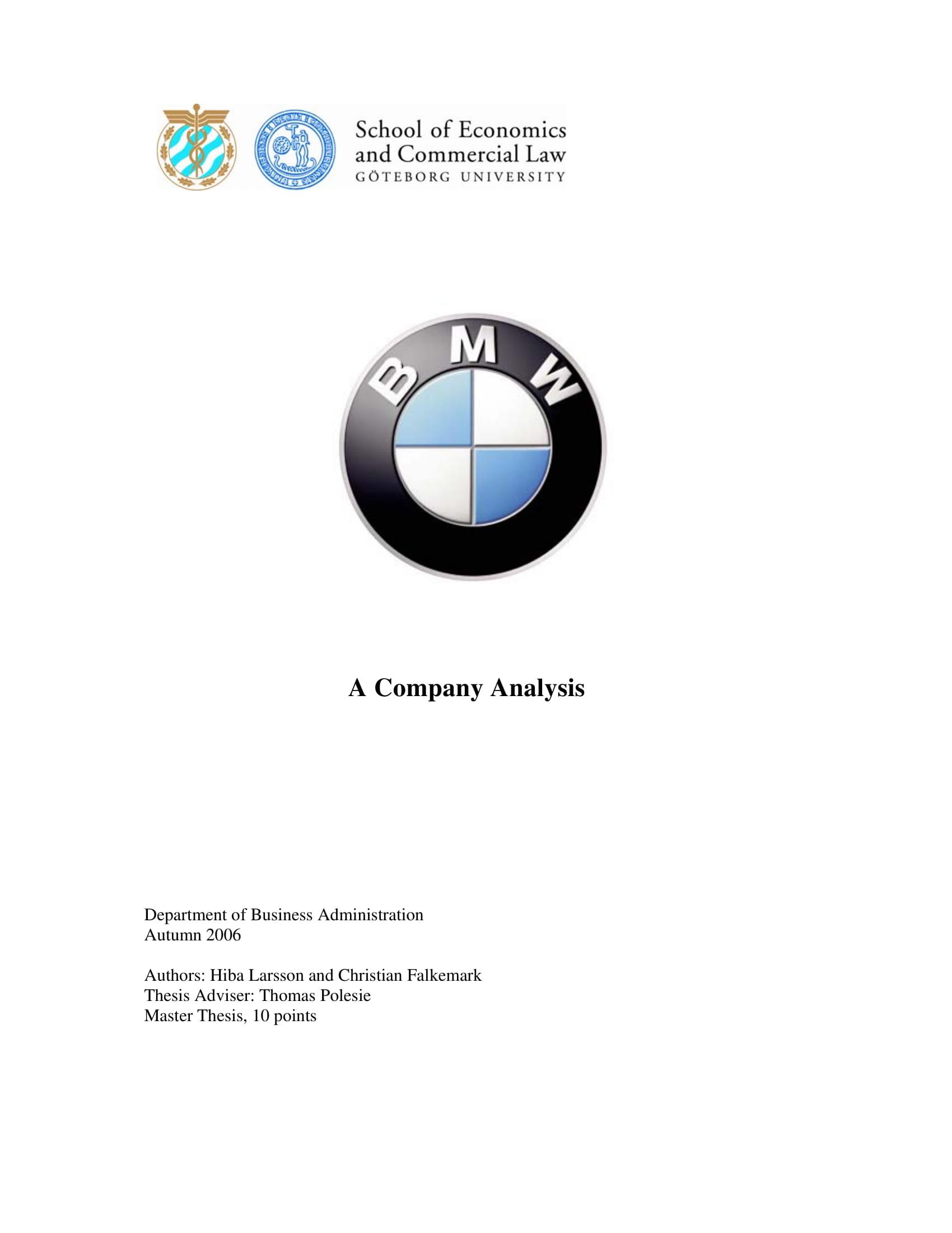 bmw company analysis example