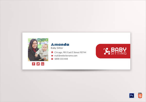 baby sitting email signature template