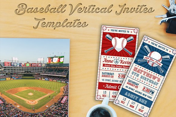 baseball themed birthday invitation ticket