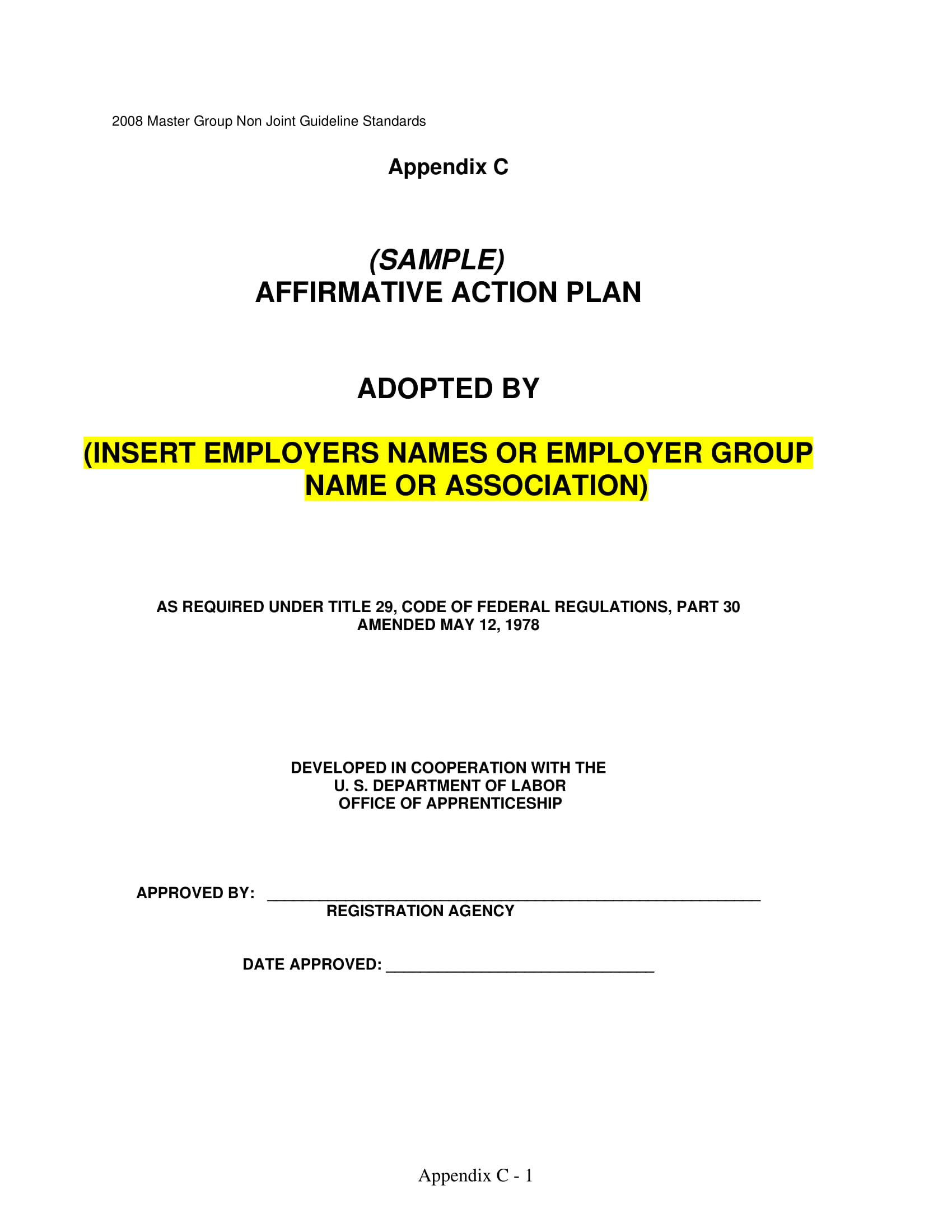 basic affirmative action plan example 1