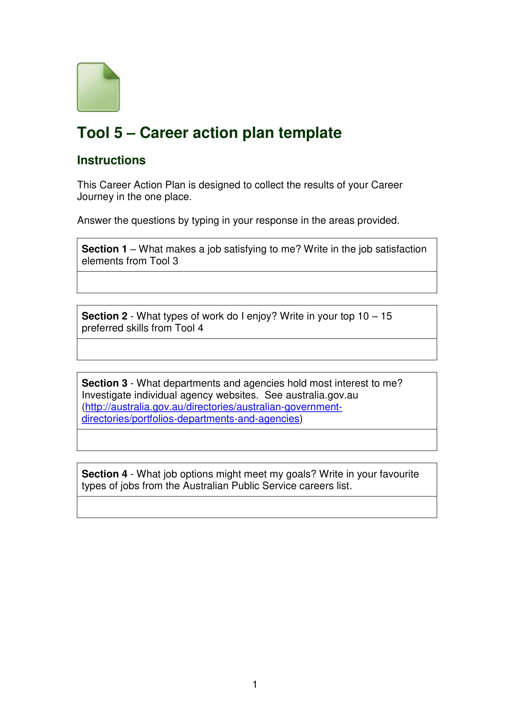 basic career action plan template example