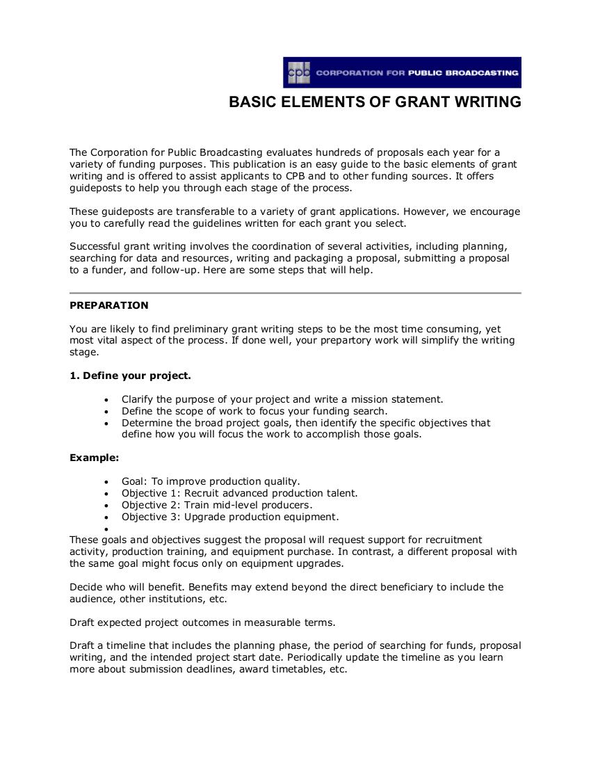 basic elements of grant writing