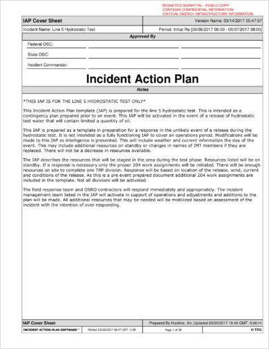 basic incident action plan example