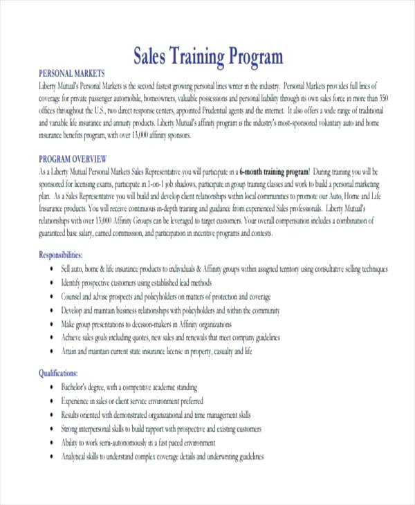 basic sales training program example