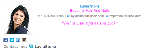 beautiful hair and nails stylist email signature