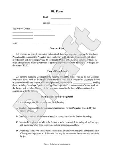bid form template