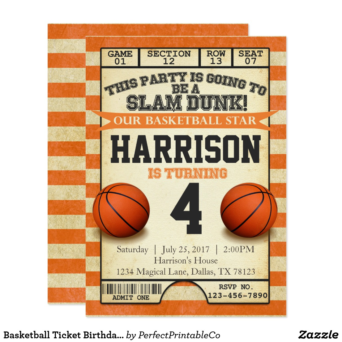 birthday basketball ticket invitation example