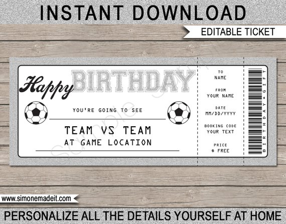birthday football tournament ticket example