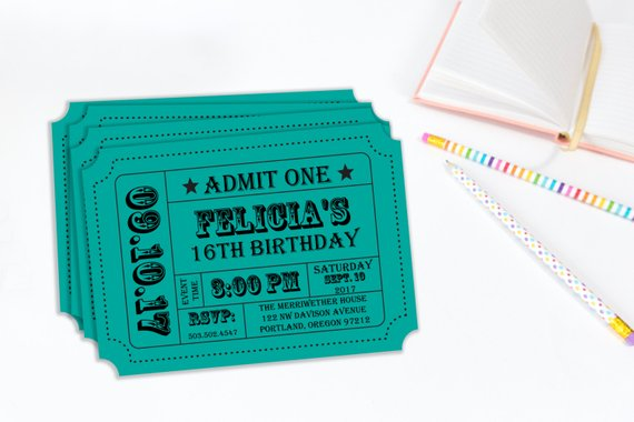 birthday party carnival inspired invitation ticket