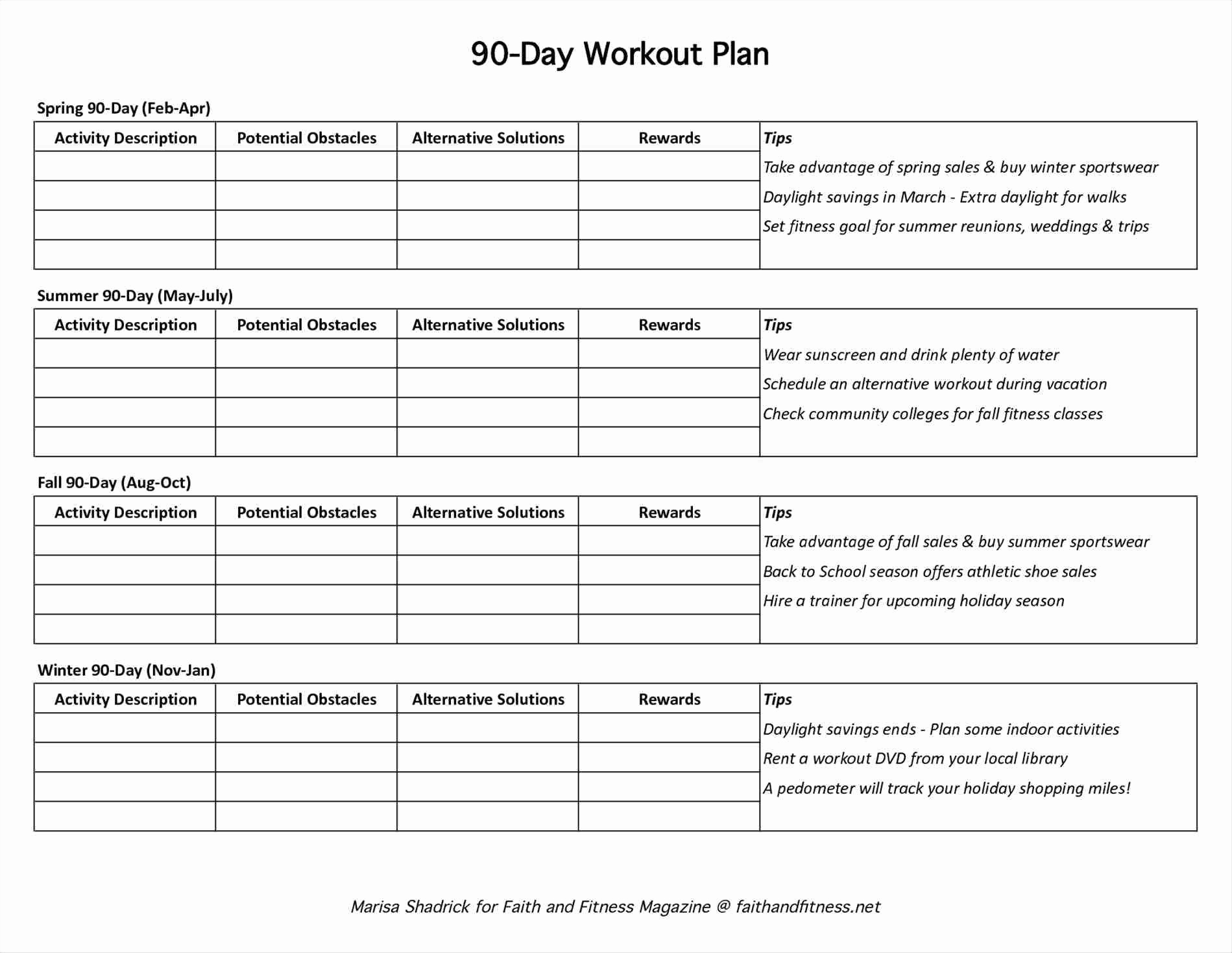 90 day workout plan pdf