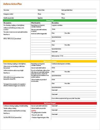 blank asthma action plan template