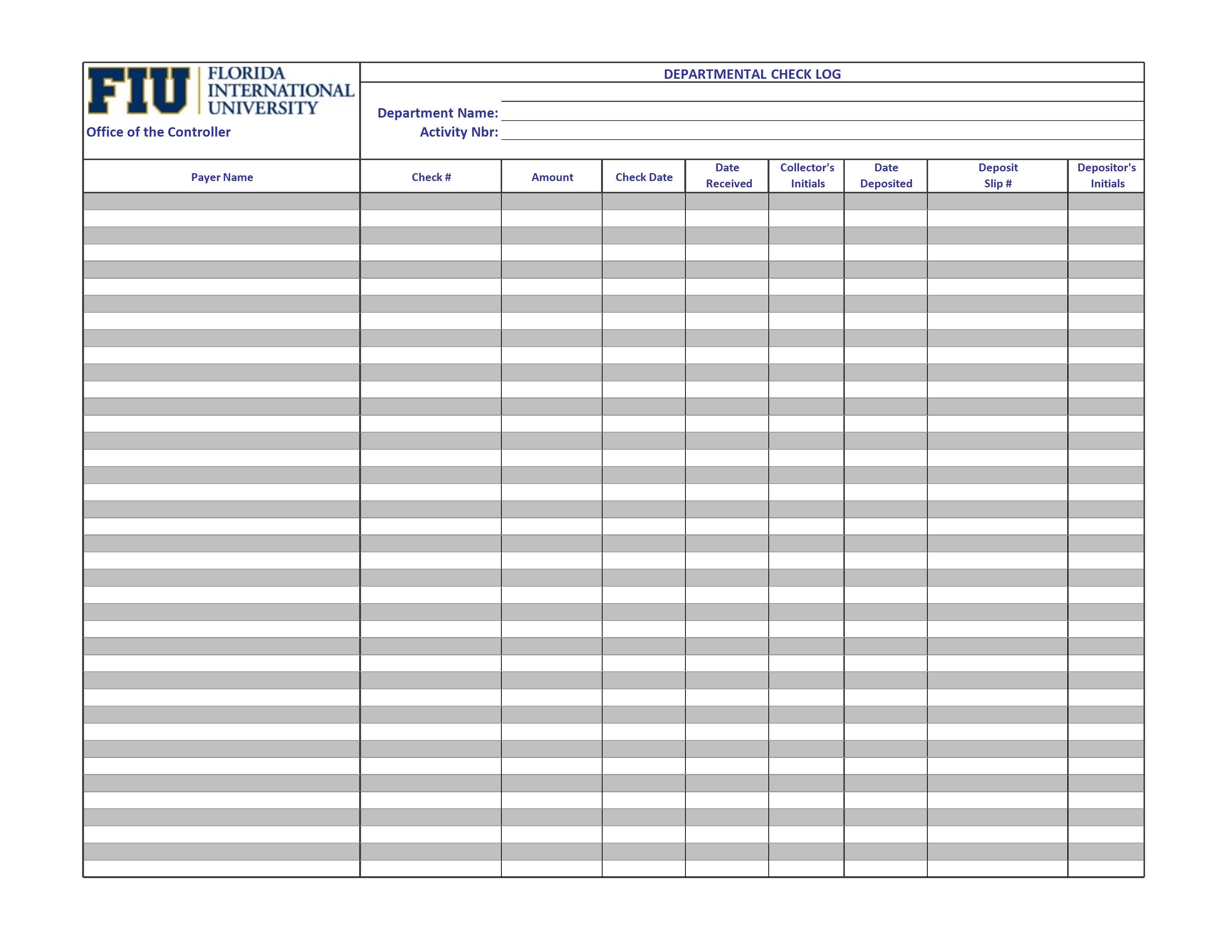 blank check log register example