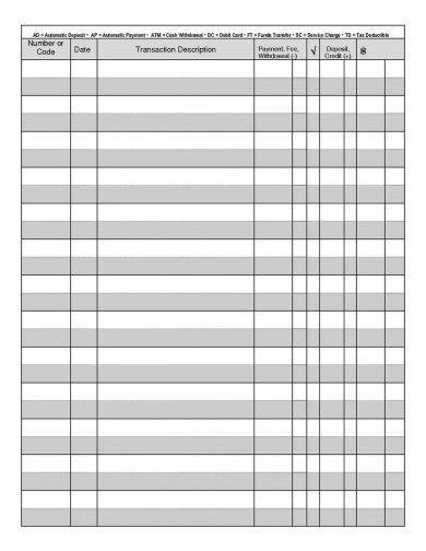 Modest image in printable checkbook registers