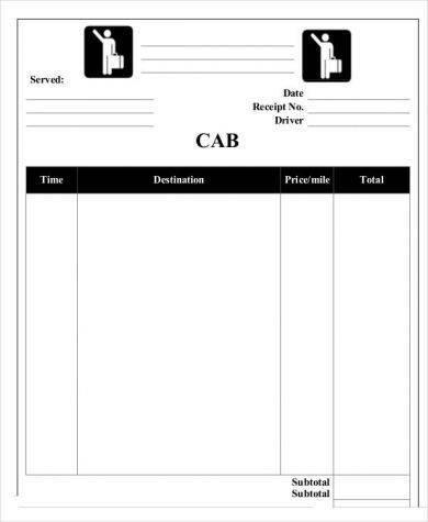 blank taxi receipt example1