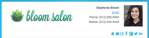 bloom salon email signature example