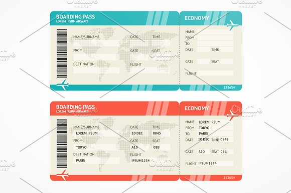 blue and red plane boarding ticket example
