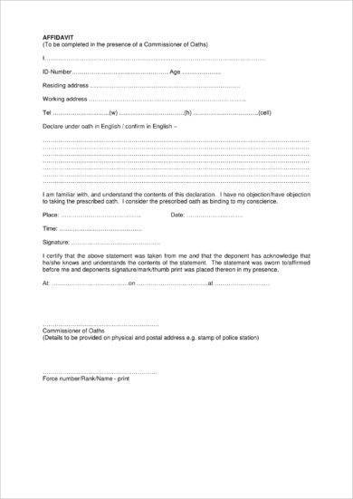 Brief Sworn Affidavit Form Example