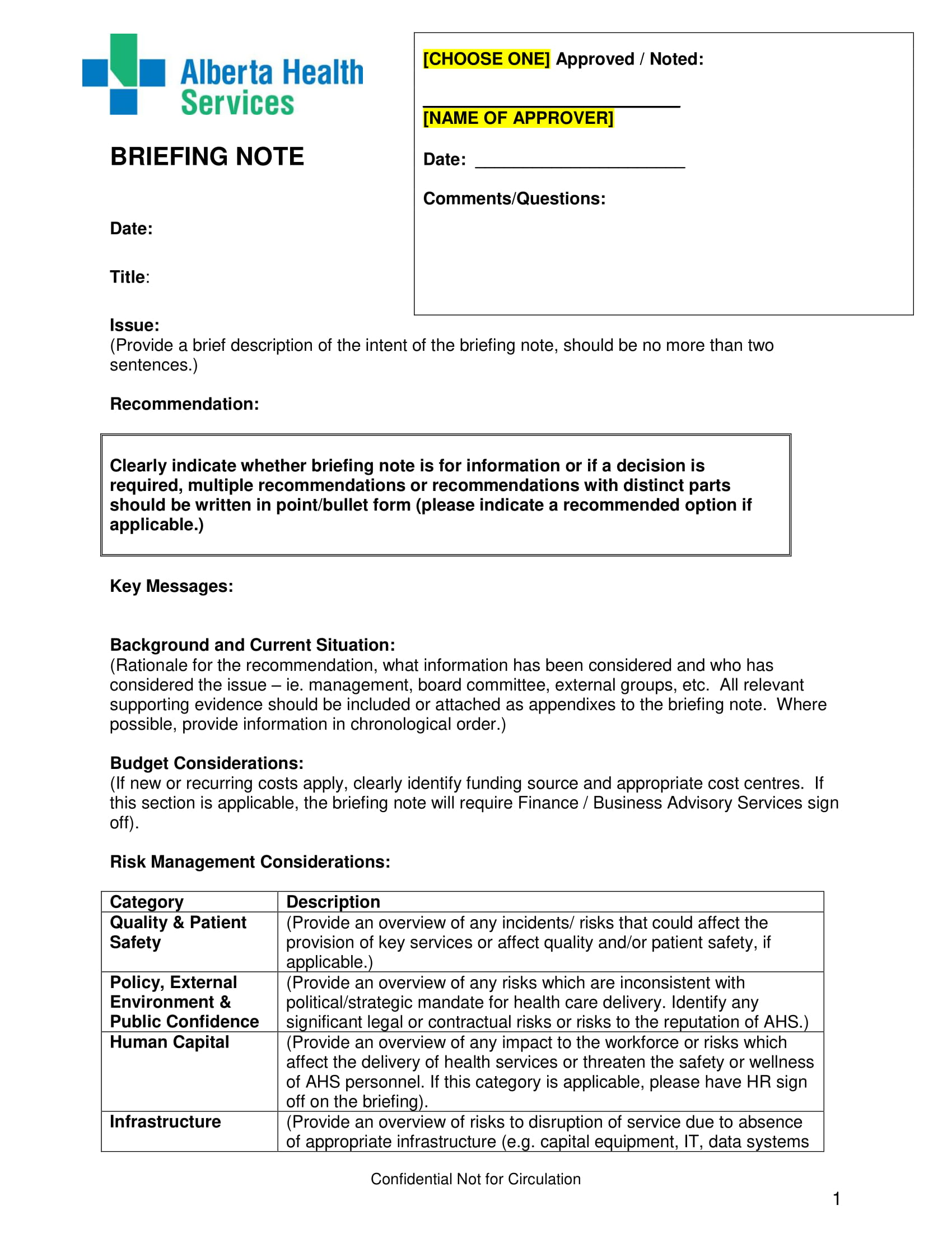 briefing note template example