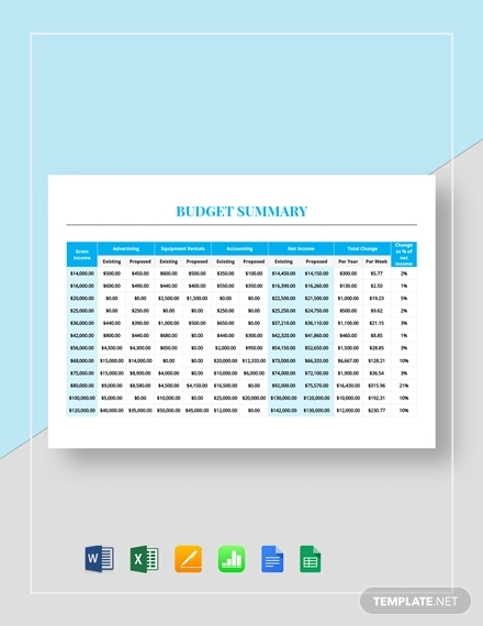 budget summary template