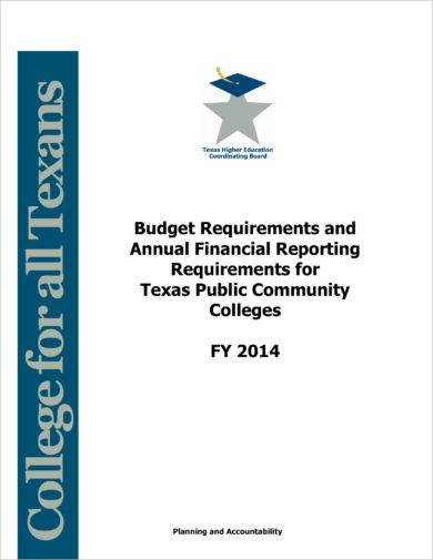 budget and annual finance reporting requirements example
