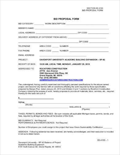 building expansion construction bid form example1