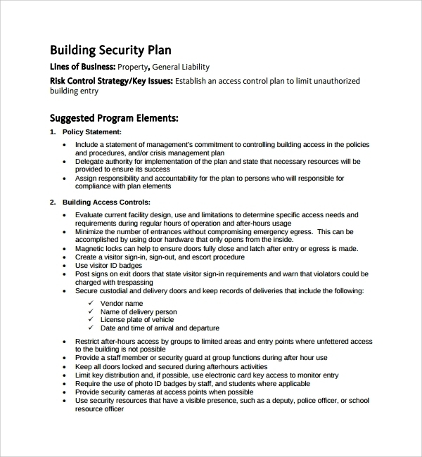building security plan example