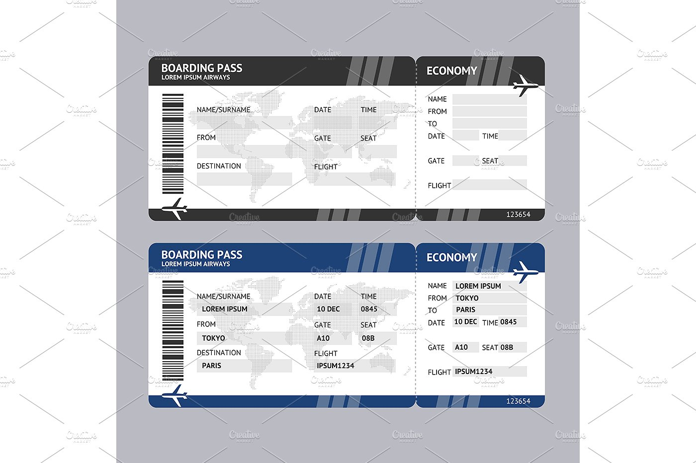 bundle for plane boarding ticket example