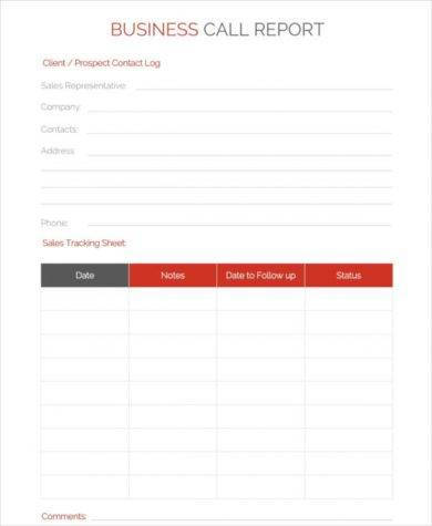 business call report template1