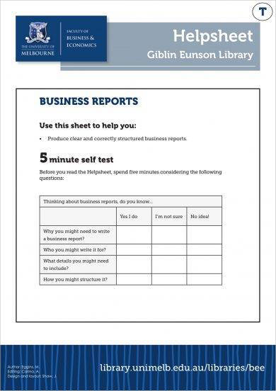 business management report guides example