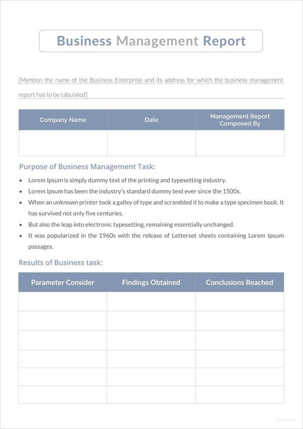 13 business management report examples pdf business management report template wajeb Image collections