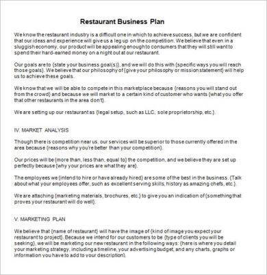 business marketing plan for restaurant example1