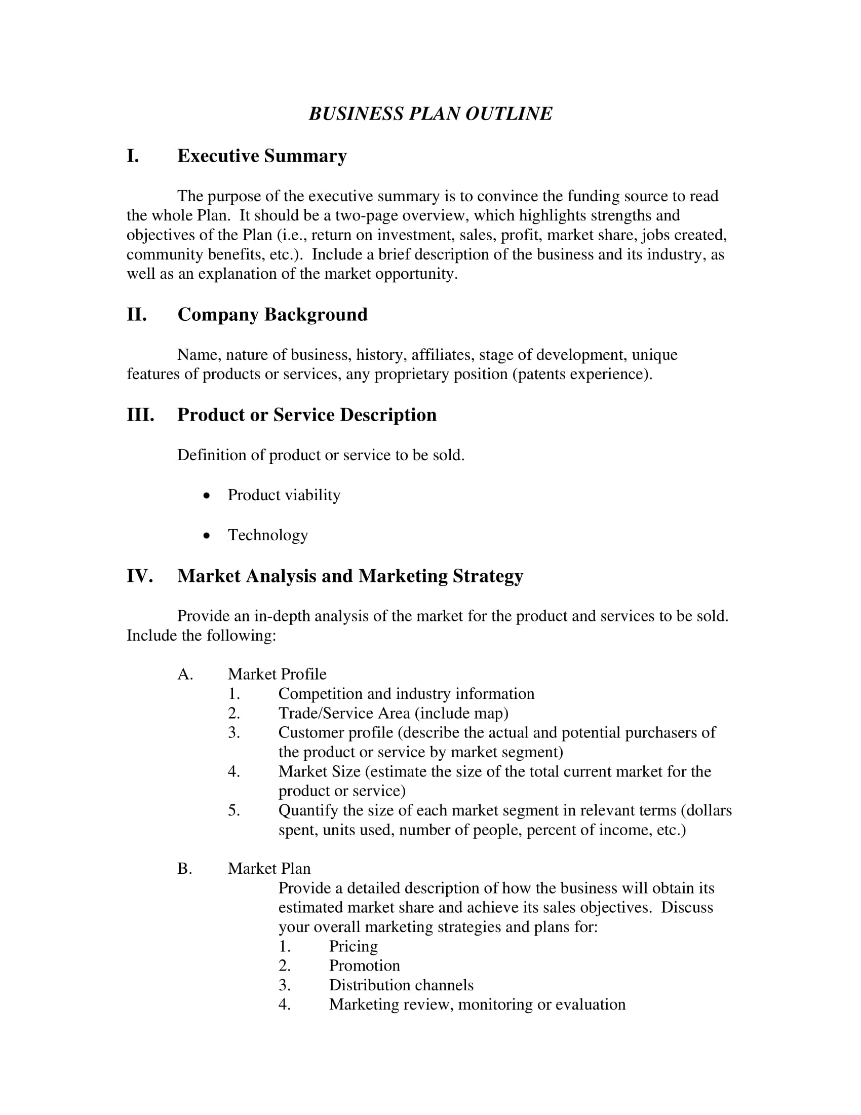 business plan outline with a thorough operational plan example 1