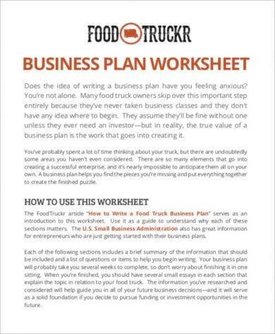 business plan worksheet food truck example1