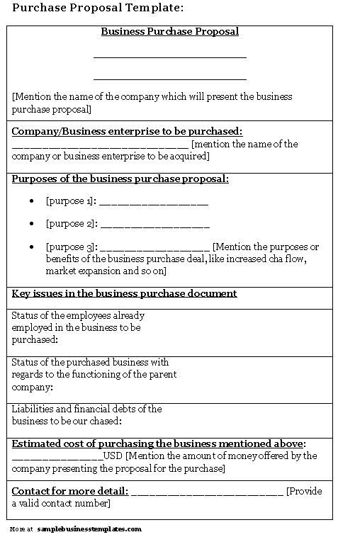 Purchase Proposal Template | 9 Proposal To Buy A Business Examples Pdf Word