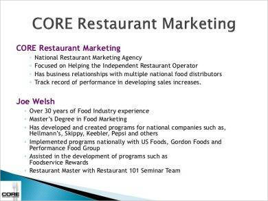 core restaurant marketing plan example1