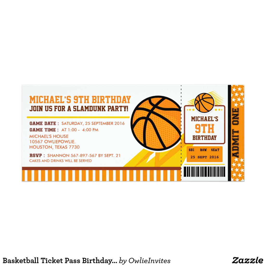 cartoon basketball ticket invitation example