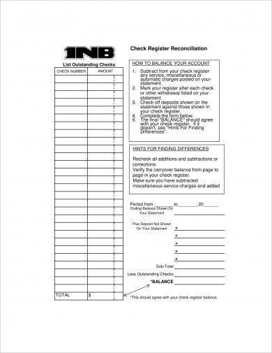 checkbook register reconciliation sheet example1