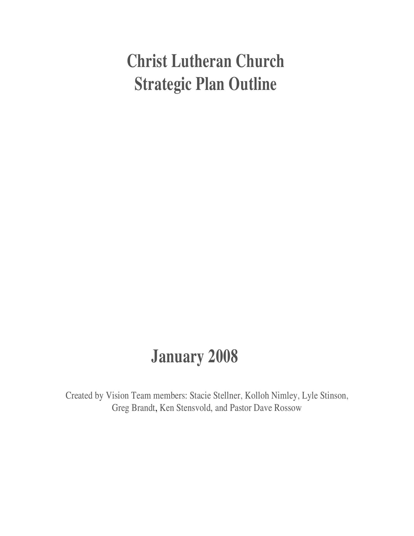 church strategic plan outline example 01
